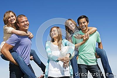 Multi-racial group Having Fun together