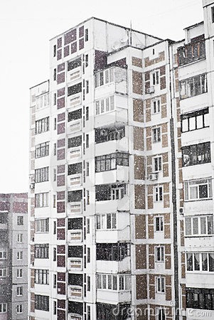 Multi-storied home in heavy snowfall
