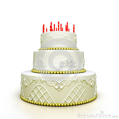 Multi-tiered birthday celebration cake with sugar