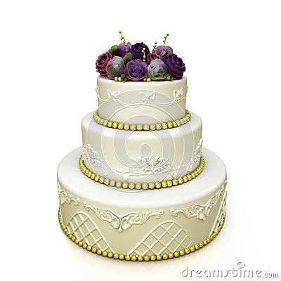 Multi-tiered wedding celebration cake