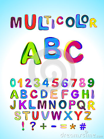Free Multicolor ABC. Bright Multicolored Mixed Letters And Numbers Royalty Free Stock Photos - 79680418