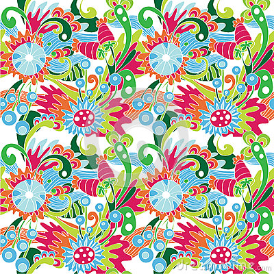 Multicolor abstract pattern with flowers