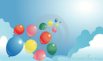 Multicolor ballons in a sky
