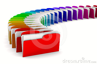 Multicolor computer folder on white background