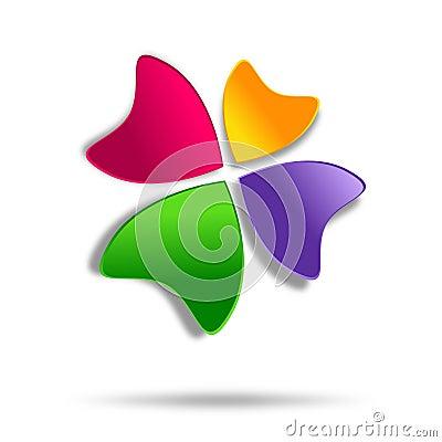 Multicolor four-leaf clover logo design