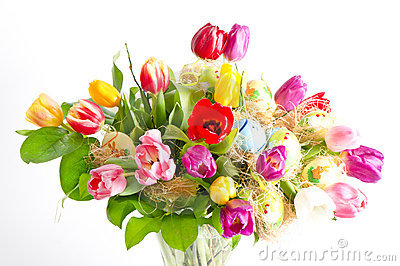 Multicolor fresh spring tulips with easter eggs
