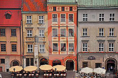 Multicolor houses in Krakow Editorial Stock Photo