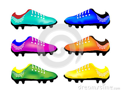 The Multicolor Illustration of Sport Football Boot