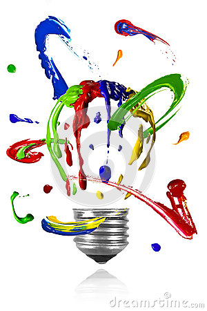 Paint orbit around painted light bulb