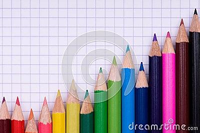 Multicolor pencils on paper