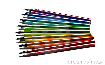 Multicolor pens on white background