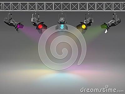 Multicolor spotlights illuminated wall.