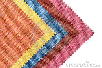Multicolor tone of fabric sample on white