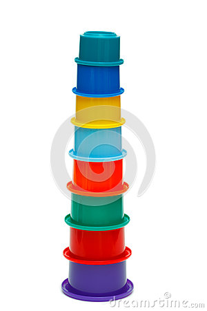 Multicolor tower of cups