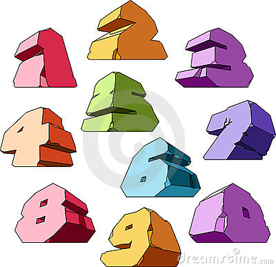 Multicolored alphabet: digits