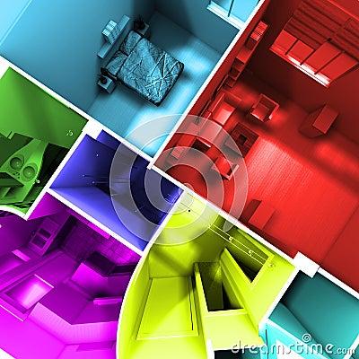 Multicolored apartment