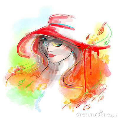 Free Multicolored Autumn. Fashion Beautiful Woman . Autumn Abstract. Illustration Water Color Stock Images - 59501494