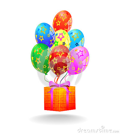 Multicolored balloons and gift box. Vector