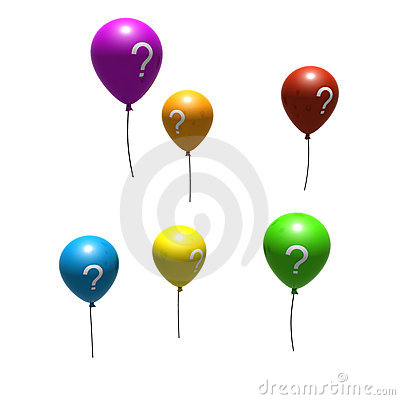 Multicolored balloons with question-mark