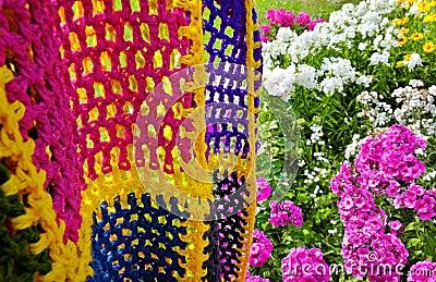 Multicolored blanket.