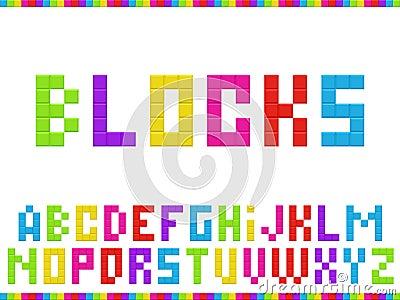 Multicolored blocks alphabet