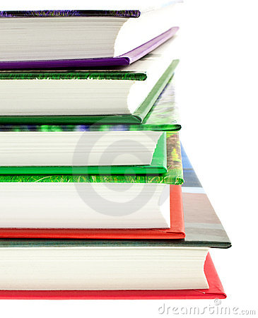 Multicolored books stack isolated