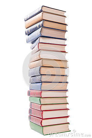 Multicolored books stack isolated on white background.