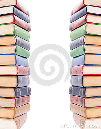 Multicolored books stack isolated.