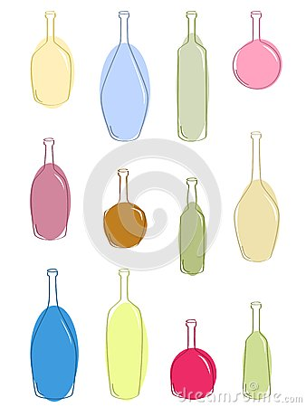 Multicolored bottles for vine.
