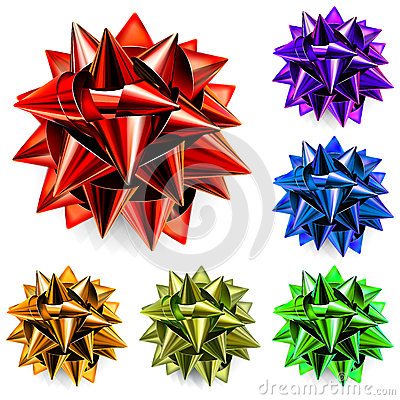 Multicolored bows of ribbon