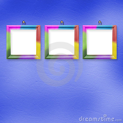 Multicolored bright frames hanging