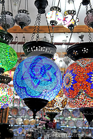 Multicolored chandeliers