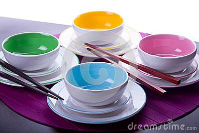 Multicolored Chinese bowls
