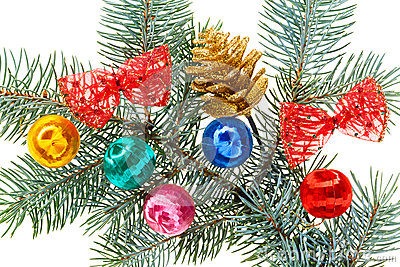 Multicolored Christmas balls, bows and cone