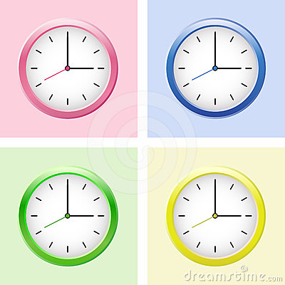 Multicolored clock set.