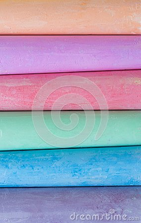Free Multicolored Crayons, Pastel. Stripes, Lines, Gentle. Green, Yellow, Pink, Purple, Blue. Painted Pastels White Blackboard Royalty Free Stock Photo - 105657305