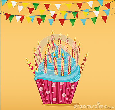 Multicolored cupcakes with letters and words happy birthday. Stock Photo
