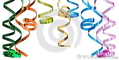 Multicolored curling paper streamer