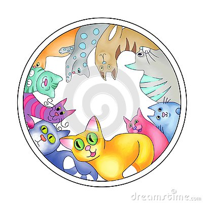 Multicolored cats arranged in a circle Stock Photo