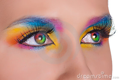 Multicolored female eyes.