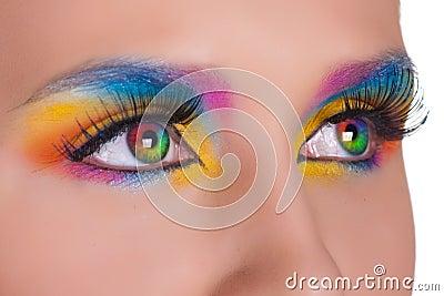 Multicolored female eyes.
