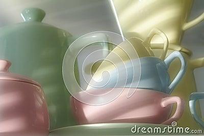 Multicolored flatware,cups pot,filter