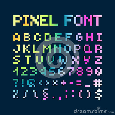 Free Multicolored Gradient Pixel Font, Alphabet Stock Images - 47684284