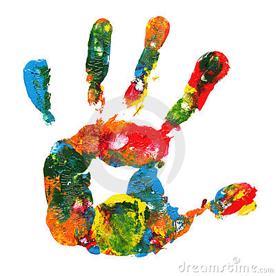 Multicolored hand print
