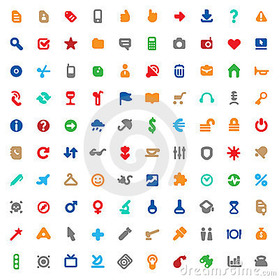 Multicolored icons and signs