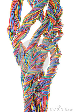 Multicolored network computer cables