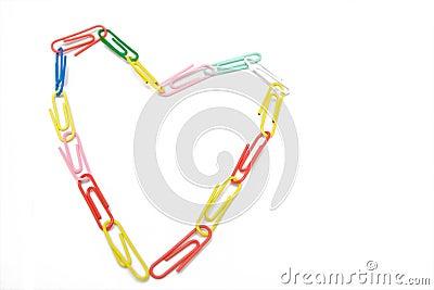 Multicolored paper-clip like heart