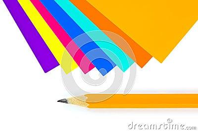 Multicolored paper and pencil
