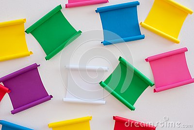 Multicolored paper stickers