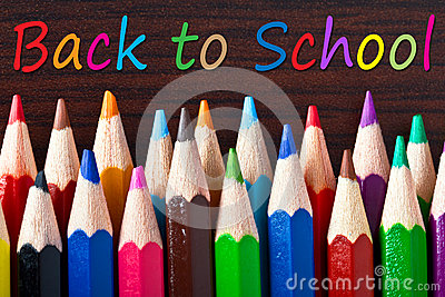 Multicolored pencils with back to school